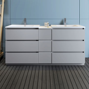"""72"""" Gray Partitioned Cabinet with Sink Front View"""