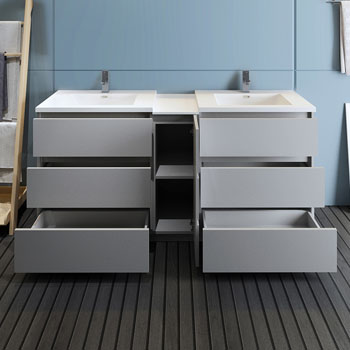 """72"""" Gray Partitioned Cabinet with Sink Drawers Open"""