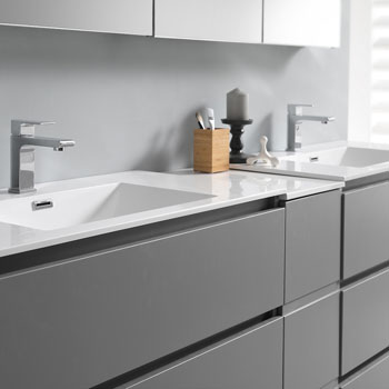 """72"""" Gray Partitioned Cabinet with Sink Edge Close Up"""