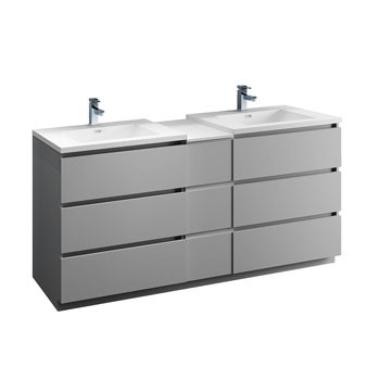 """72"""" Gray Partitioned Cabinet with Sink Product View"""