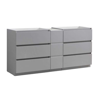 """72"""" Gray Partitioned Cabinet Only Side View"""