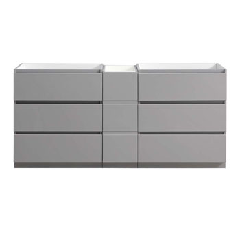 """72"""" Gray Partitioned Cabinet Only Front View"""