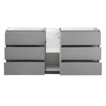 """72"""" Gray Partitioned Cabinet Only Drawers Open"""