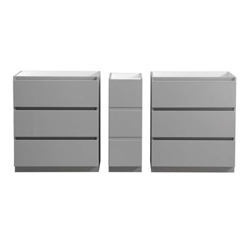 """72"""" Gray Partitioned Cabinet Only Split View"""