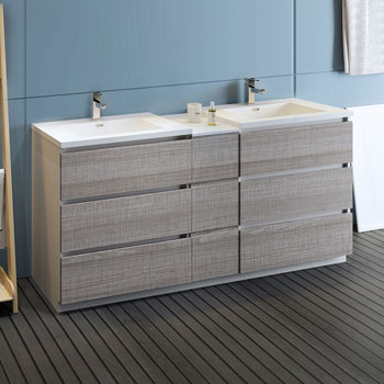 """72"""" Glossy Ash Gray Partitioned Cabinet with Sink Side View"""