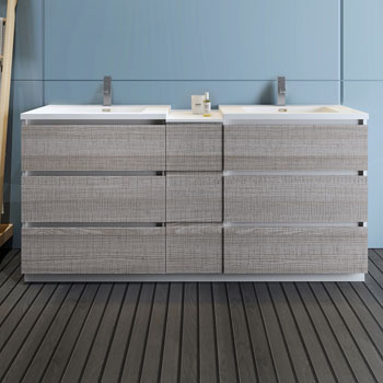 """72"""" Glossy Ash Gray Partitioned Cabinet with Sink Front View"""