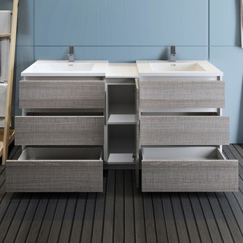 """72"""" Glossy Ash Gray Partitioned Cabinet with Sink Drawers Open"""