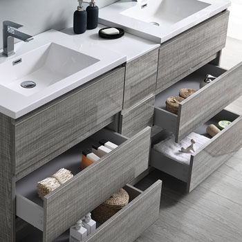 """72"""" Glossy Ash Gray Partitioned Cabinet with Sink Overhead View"""