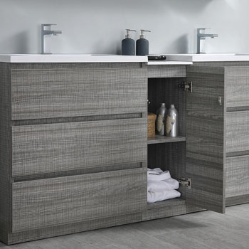 """72"""" Glossy Ash Gray Partitioned Cabinet with Sink Cabinet Open"""