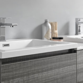 """72"""" Glossy Ash Gray Partitioned Cabinet with Sink Edge Close Up"""