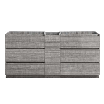 """72"""" Glossy Ash Gray Partitioned Cabinet Only Front View"""