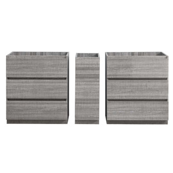"""72"""" Glossy Ash Gray Partitioned Cabinet Only Split View"""