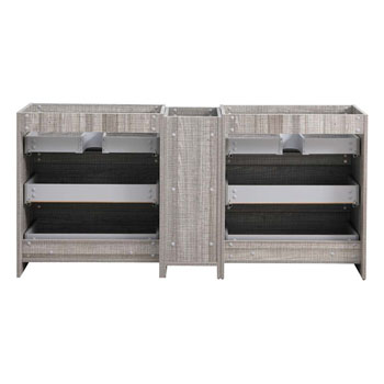"""72"""" Glossy Ash Gray Partitioned Cabinet Only Inside View"""