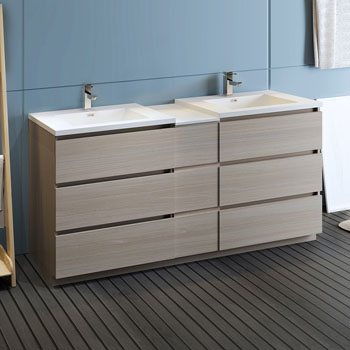 """72"""" Gray Wood Partitioned Cabinet with Sink Side View"""
