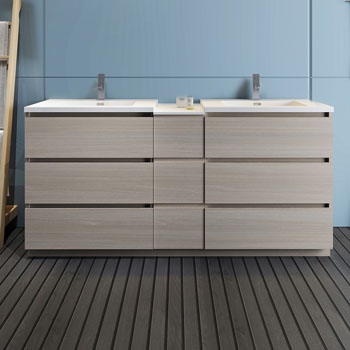 """72"""" Gray Wood Partitioned Cabinet with Sink Front View"""