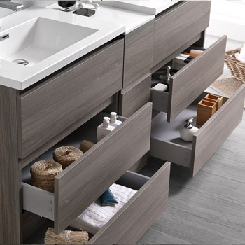 """72"""" Gray Wood Partitioned Cabinet with Sink Drawers Open"""