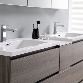 """72"""" Gray Wood Partitioned Cabinet with Sink Edge Close Up"""