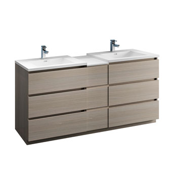 """72"""" Gray Wood Partitioned Cabinet with Sink Product View"""