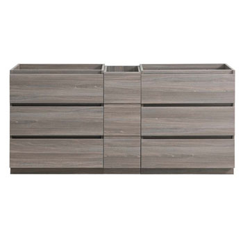 """72"""" Gray Wood Partitioned Cabinet Only Front View"""