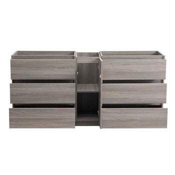 """72"""" Gray Wood Partitioned Cabinet Only Drawers Open"""