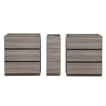 """72"""" Gray Wood Partitioned Cabinet Only Split View"""