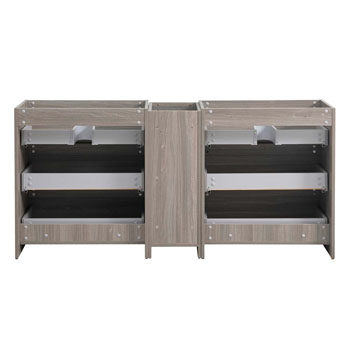 """72"""" Gray Wood Partitioned Cabinet Only Inside View"""