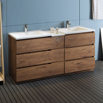 """72"""" Rosewood Partitioned Cabinet with Sink Side View"""