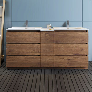 """72"""" Rosewood Partitioned Cabinet with Sink Front View"""
