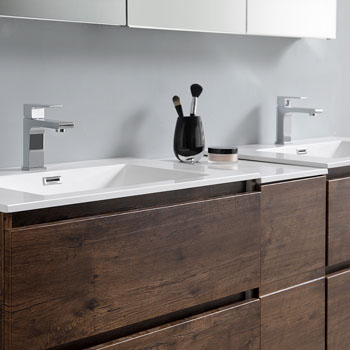 """72"""" Rosewood Partitioned Cabinet with Sink Close Up"""