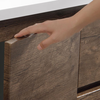 """72"""" Rosewood Partitioned Cabinet with Sink Edge Close Up"""