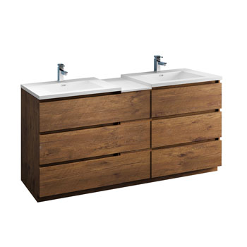 """72"""" Rosewood Partitioned Cabinet with Sink Product View"""
