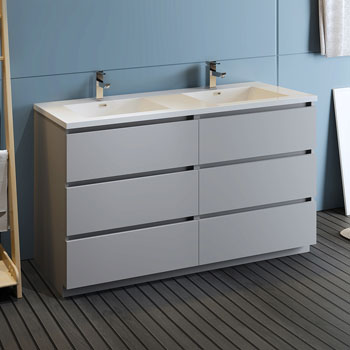 """60"""" Gray Cabinet with Sink Side View"""