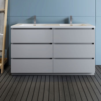 """60"""" Gray Cabinet with Sink Front View"""