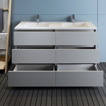 """60"""" Gray Cabinet with Sink Drawers Open"""