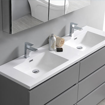 """60"""" Gray Cabinet with Sink Edge Close Up"""