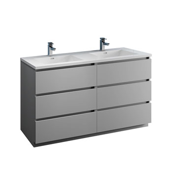 """60"""" Gray Cabinet with Sink Product View"""