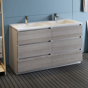 """60"""" Glossy Ash Gray Cabinet with Sink Side View"""