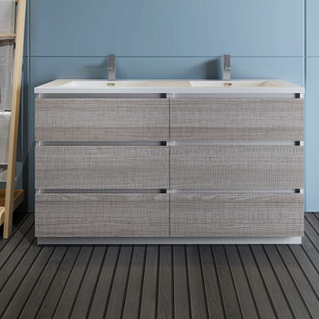 """60"""" Glossy Ash Gray Cabinet with Sink Front View"""
