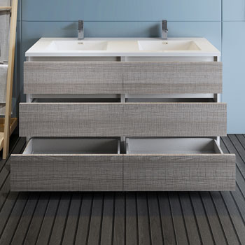 """60"""" Glossy Ash Gray Cabinet with Sink Drawers Open"""