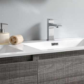 """60"""" Glossy Ash Gray Cabinet with Sink Close Up"""