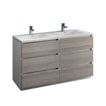 """60"""" Glossy Ash Gray Cabinet with Sink Product View"""