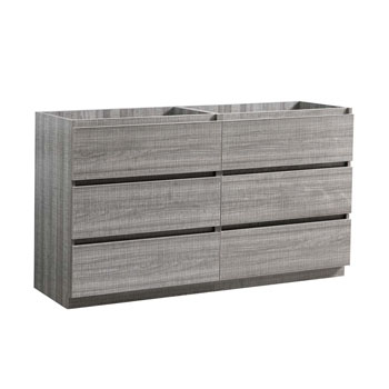 """60"""" Glossy Ash Gray Cabinet Only Side View"""
