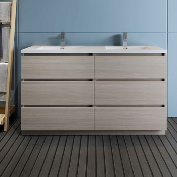 """60"""" Gray Wood Cabinet with Sink Front View"""