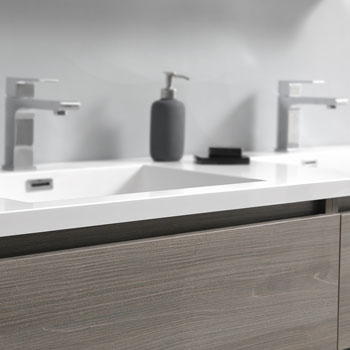 """60"""" Gray Wood Cabinet with Sink Close Up"""