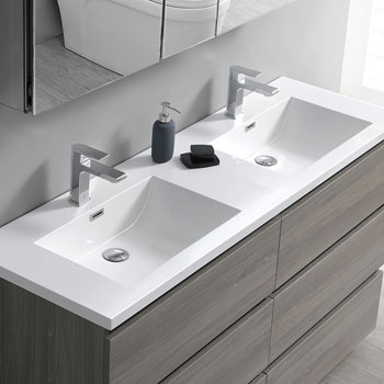 """60"""" Gray Wood Cabinet with Sink Edge Close Up"""