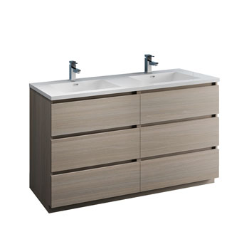 """60"""" Gray Wood Cabinet with Sink Product View"""