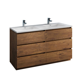 """60"""" Rosewood Cabinet with Sink Product View"""