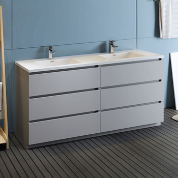 """72"""" Gray Cabinet with Sink Side View"""