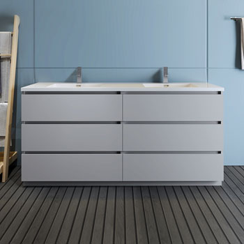 """72"""" Gray Cabinet with Sink Front View"""