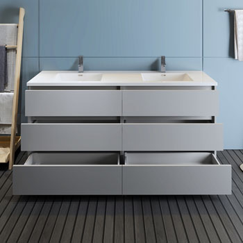 """72"""" Gray Cabinet with Sink Drawers Open"""